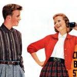 Teens Sears - bus stop - Aug 1956