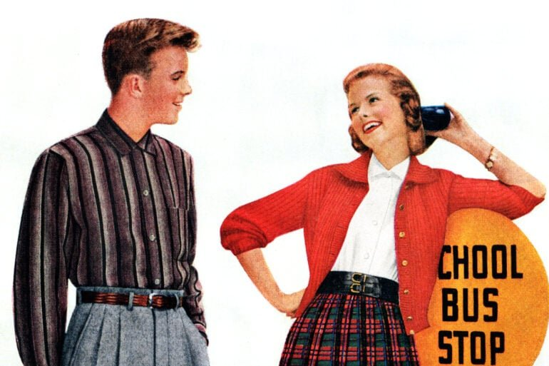 Teens Sears - bus stop - Aug 1956
