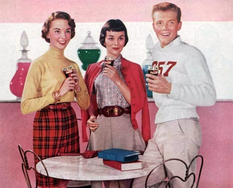 Teens at a soda shop 1955