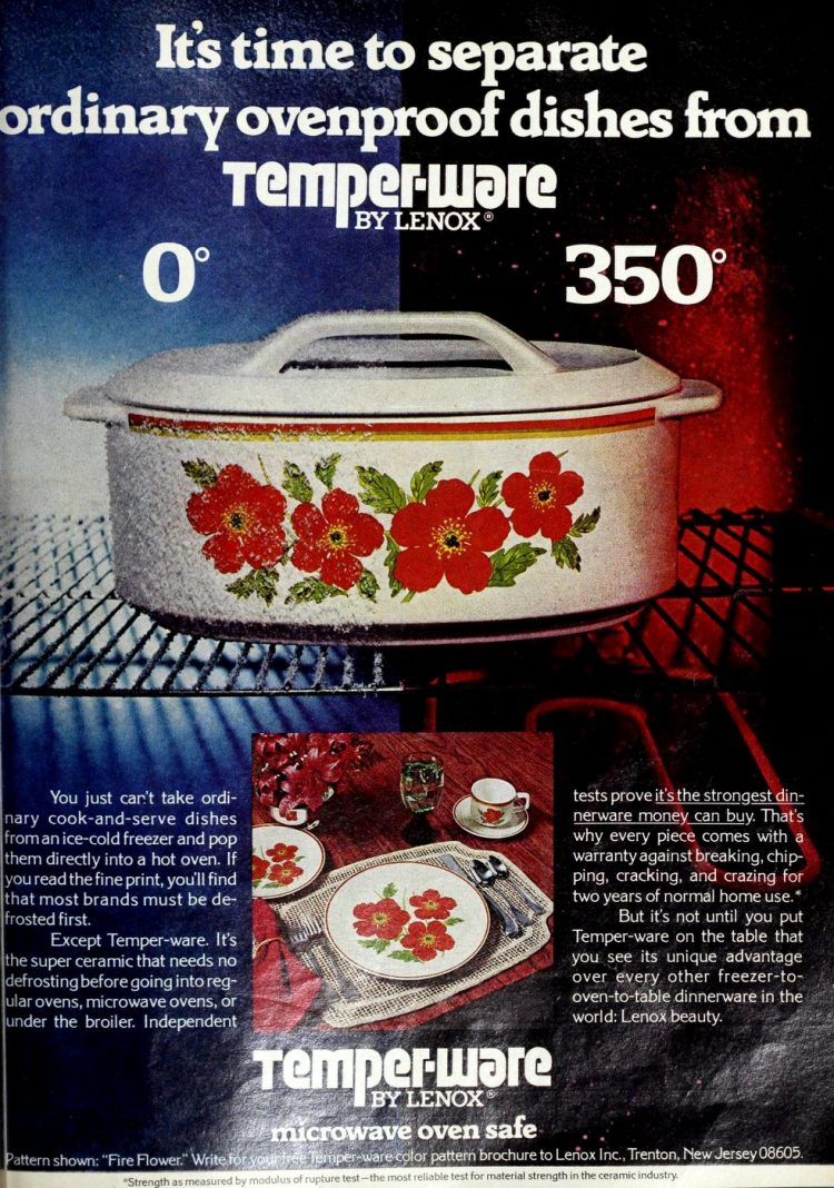 Temperware cooking dishes ovenproof - Lenox vintage 70s