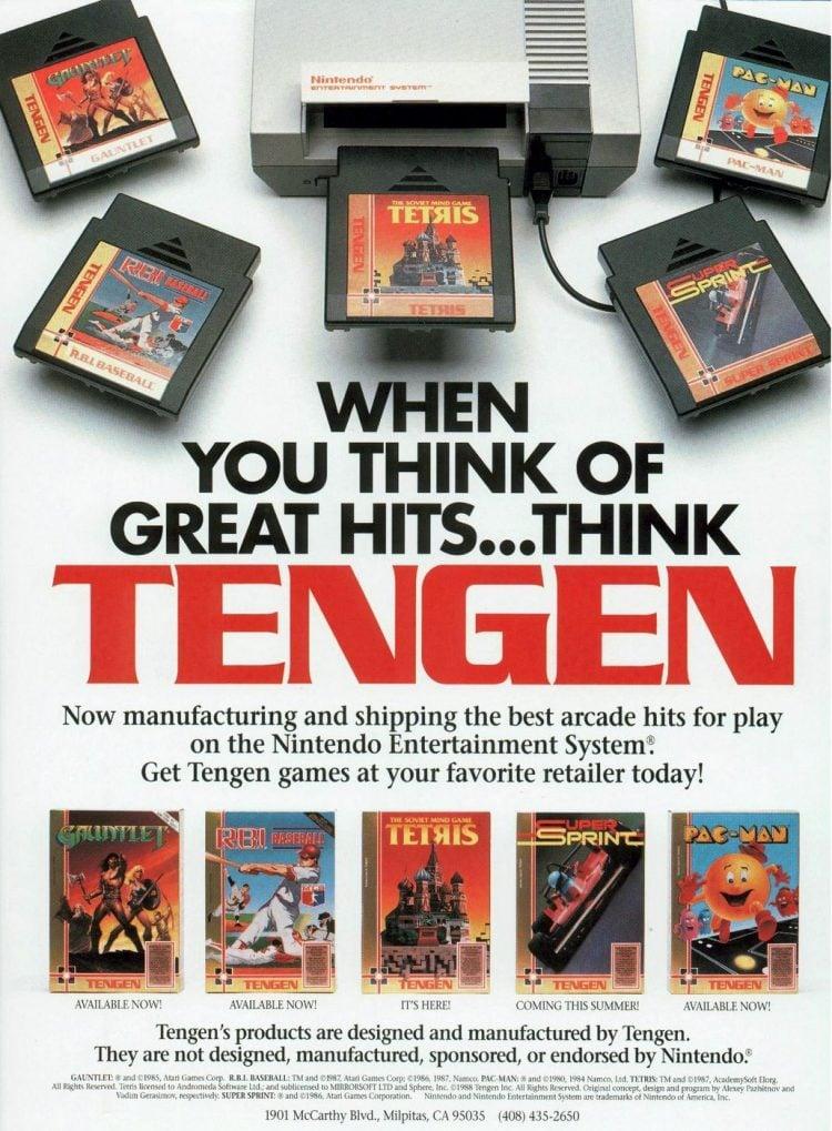 Tengen video games for NES 1988
