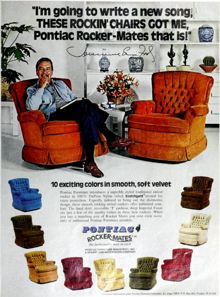 Tennessee Ernie Ford for Pontiac Rocker-Mates chairs 1975