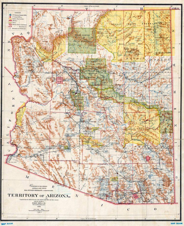 Territory of Arizona in 1899 - Map