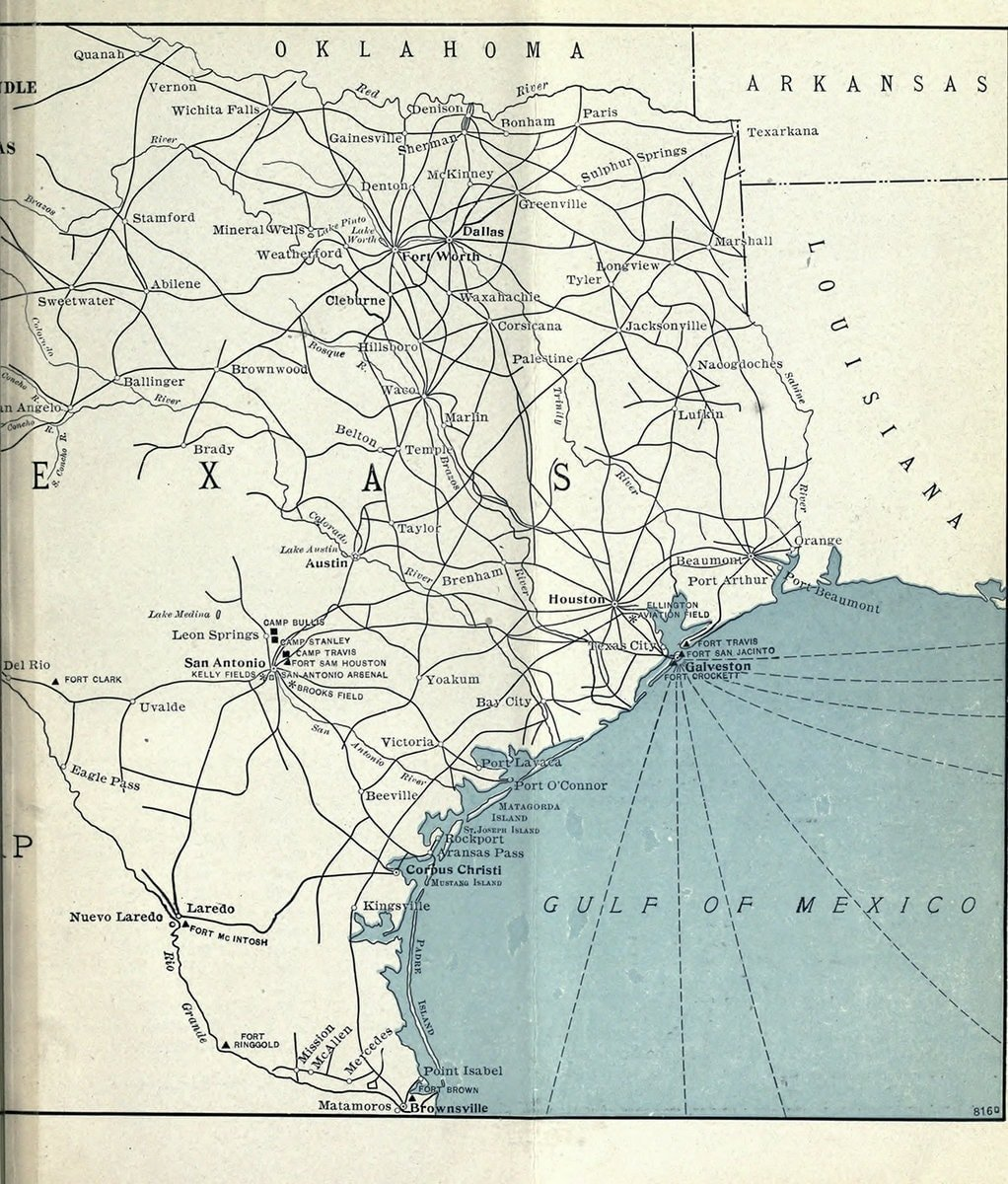 Map of central and east Texas