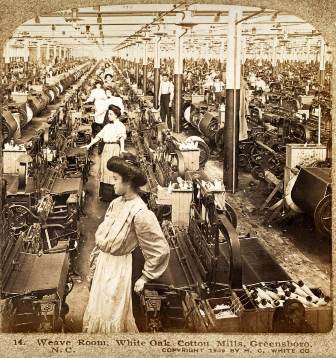 Textile weave room - Greensboro NC 1909