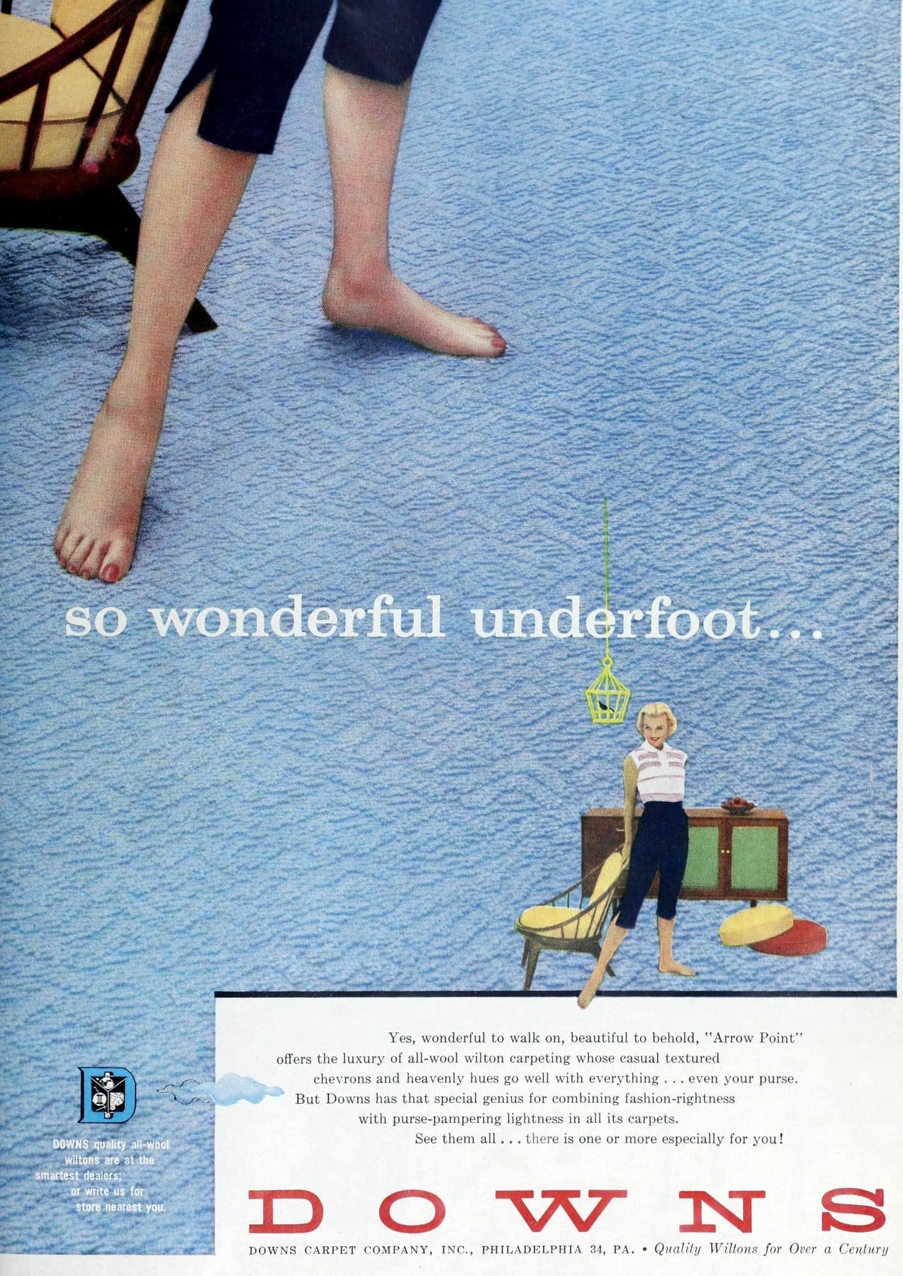 Textured chevrons on blue Downs brand vintage carpeting (1958)