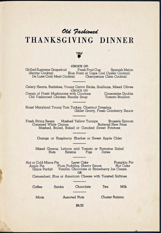 Thanksgiving (1955) dinner at Gramercy Park Hotel -- New York