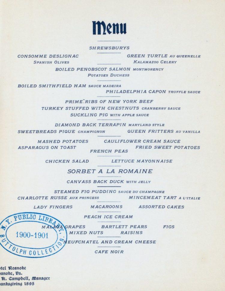 Thanksgiving day dinner at Hotel Roanoke, Virginia (1895)