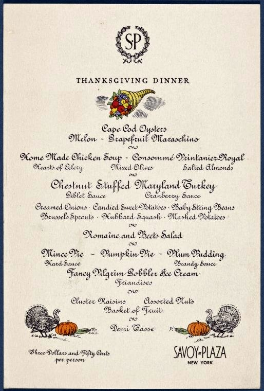 Thanksgiving dinner at Savoy Plaza -- New York, New York c1950