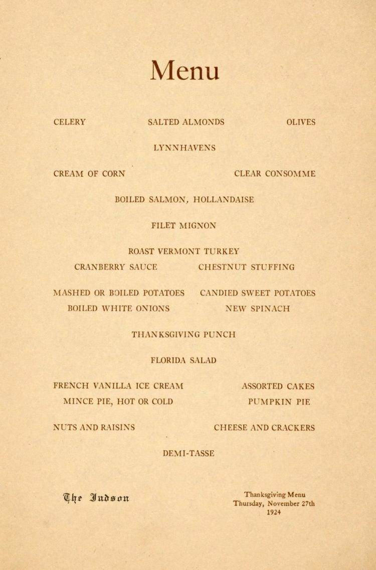 Thanksgiving dinner menu from 1924 - Knott Hotels