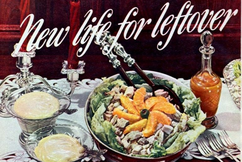 Thanksgiving leftovers Try a turkey-cranberry layer loaf & this turkey salad (1948)