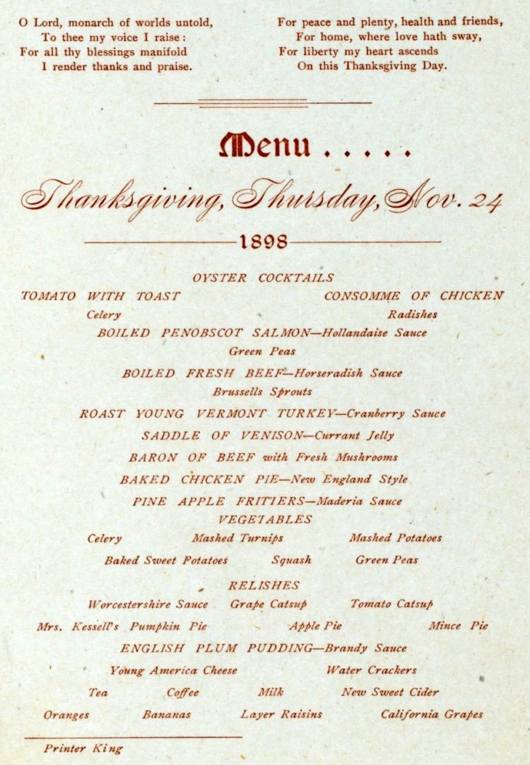 Thanksgiving menu from City Hotel in Worcester Mass (1898)
