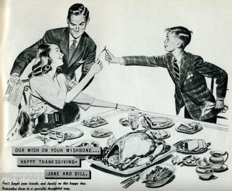 Thanksgiving scene from 1946 - breaking the turkey wishbone