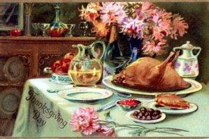 Thanskgiving turkey - Vintage postcard