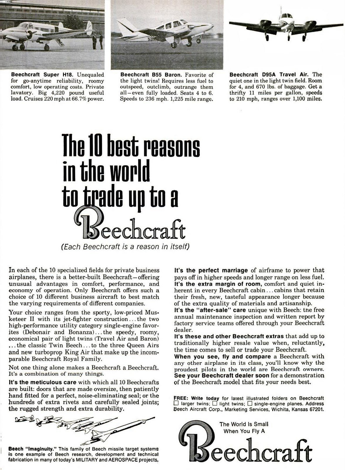 The 10 Beechcraft aircraft styles available in 1965 (1)