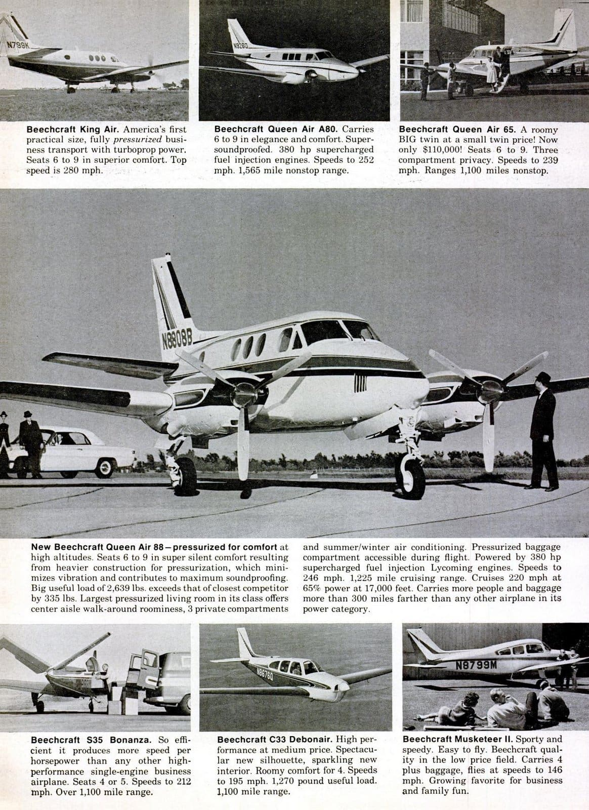 The 10 Beechcraft aircraft styles available in 1965 (2)