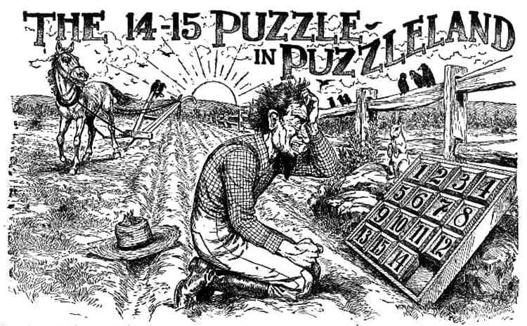 Farmer playing Fifteen Puzzle