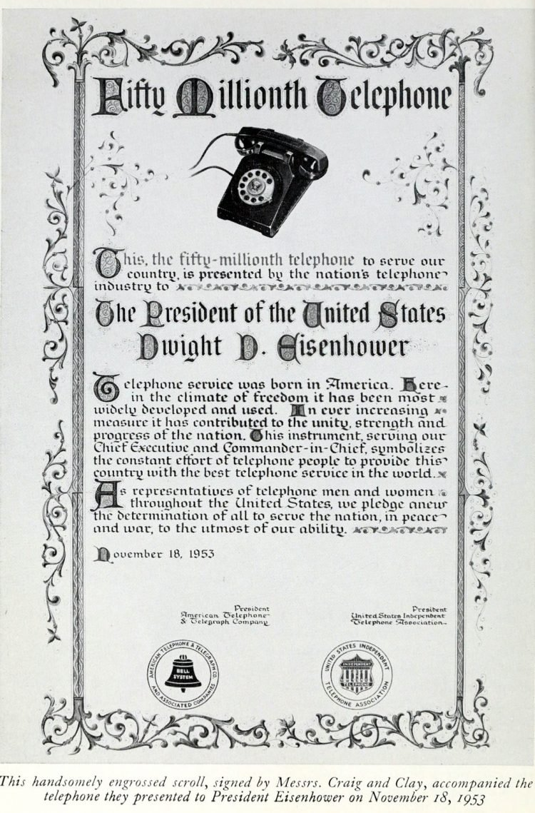 The 50 millionth telephone certificatte - 1953 - for President Eisenhower