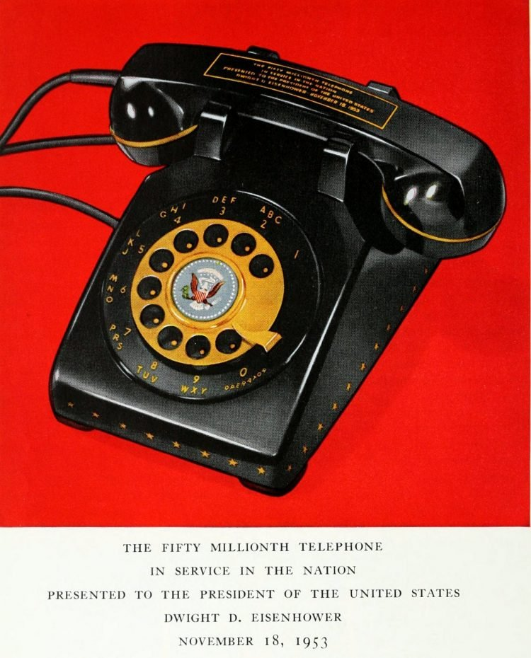 The 50 millionth telephone - presented to President Eisenhower