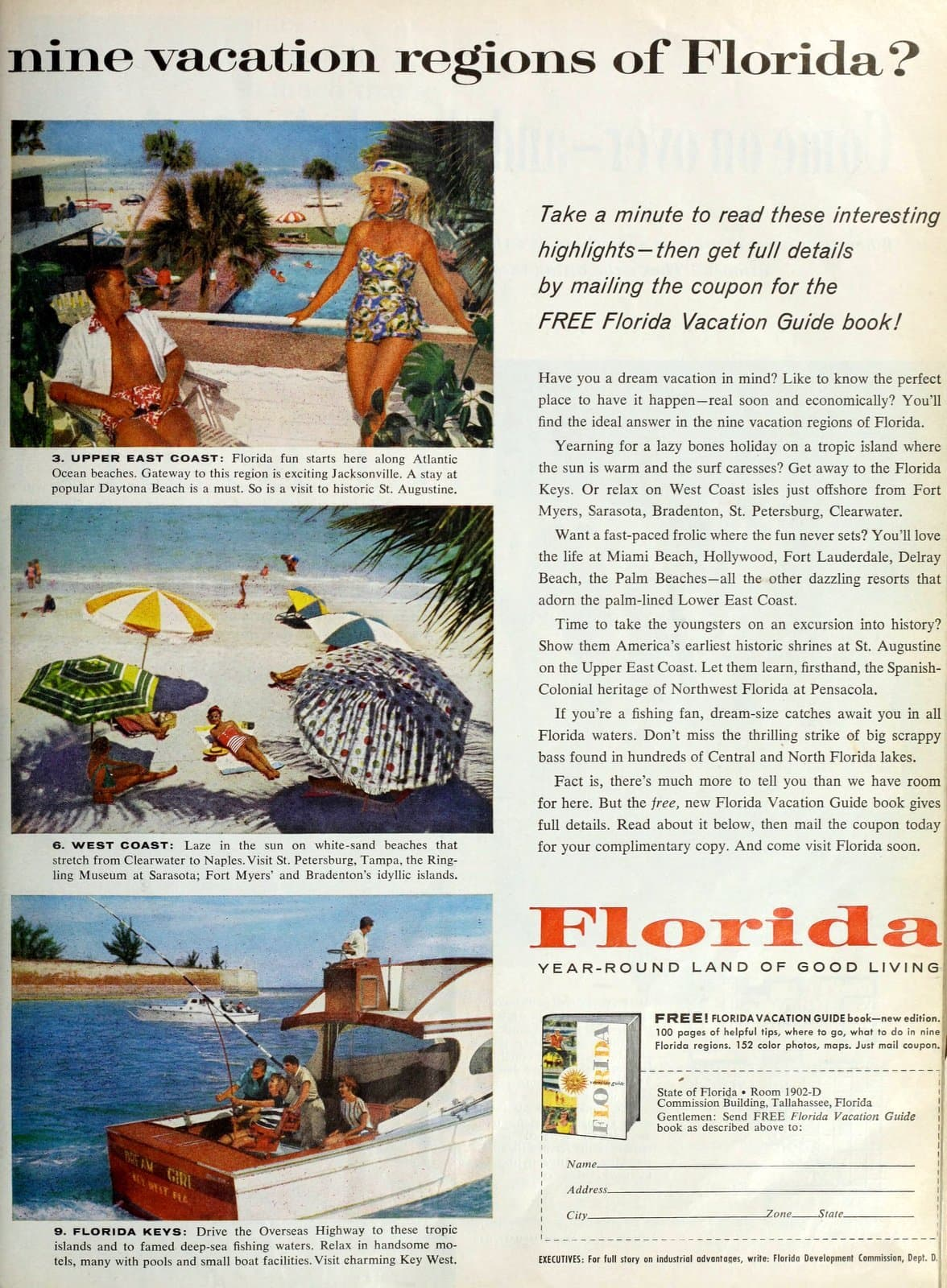 The 9 vacation regions of Florida in 1960 (1)