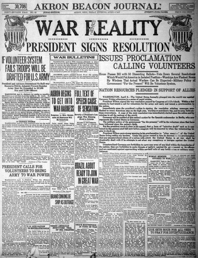 The Akron Beacon Journal newspaper front page - US in World War I - April 1917