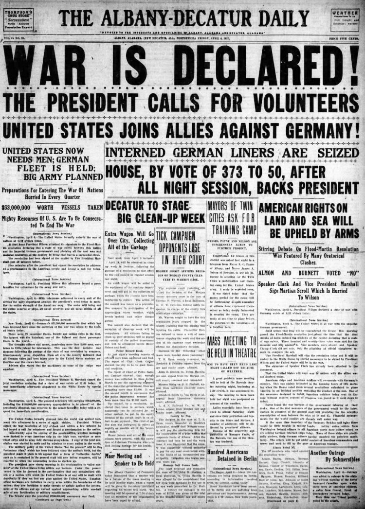 The Albany Decatur Daily newspaper front page - US in World War I - April 1917