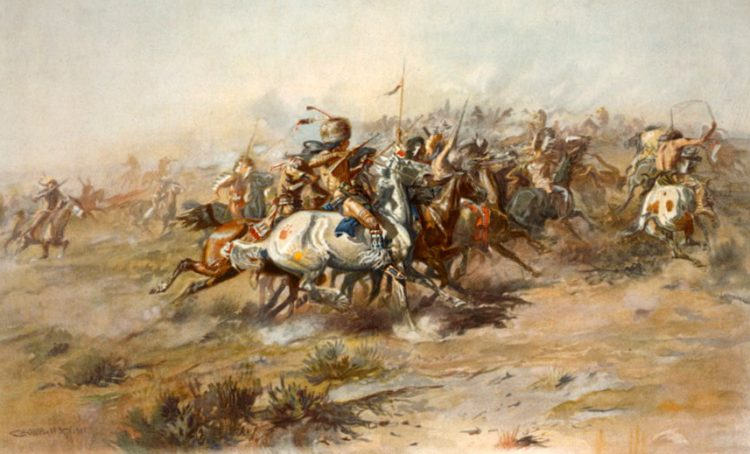 The Battle of the Little Bighorn, showing Native Americans on horseback in foreground.