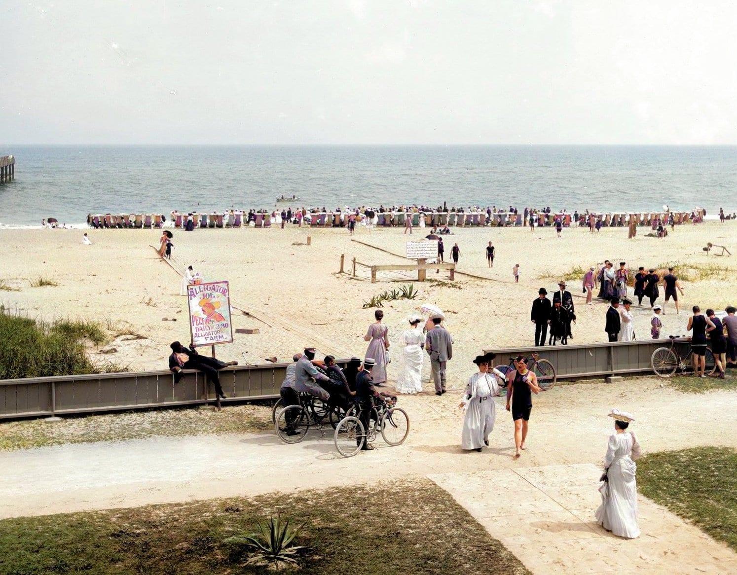 The Beach, Palm Beach, Florida - Colorized (c1905)