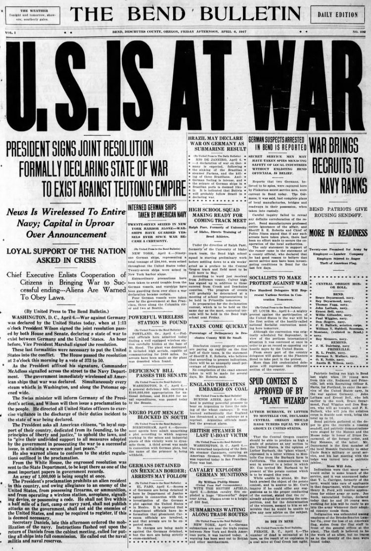 The Bend Bulletin newspaper front page - US in World War I - April 1917