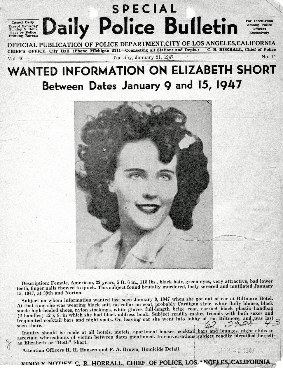 The Black Dahlia Police-FBI information request - crime