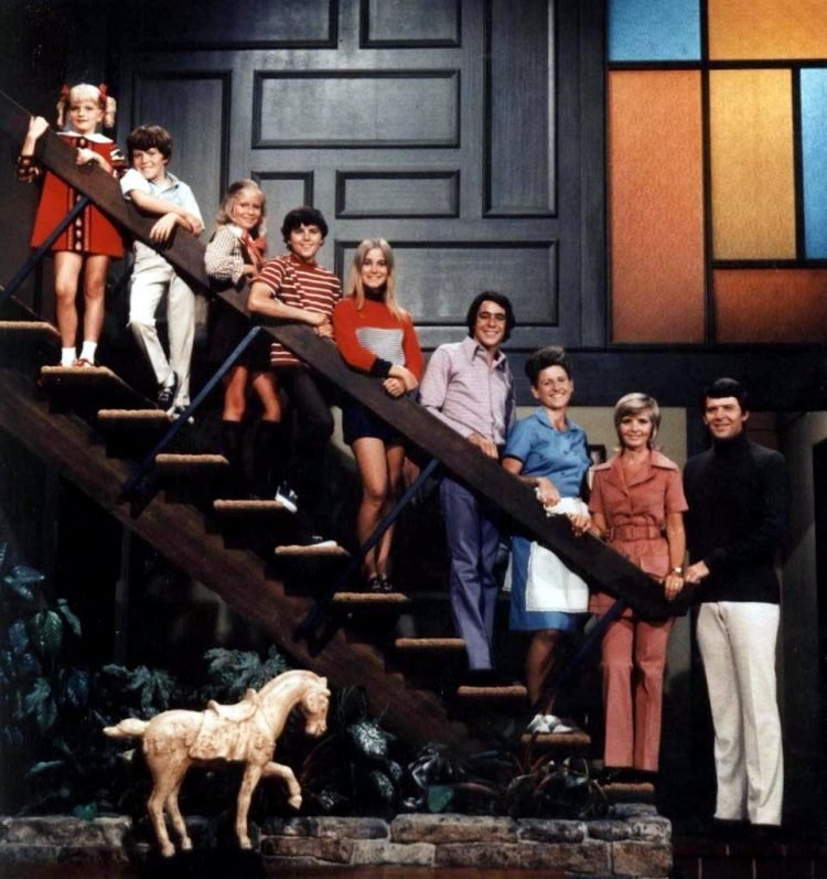The Brady Bunch on the stairs