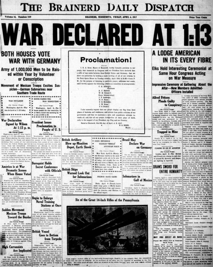 The Brainerd Daily Dispatch newspaper front page - US in World War I - April 1917