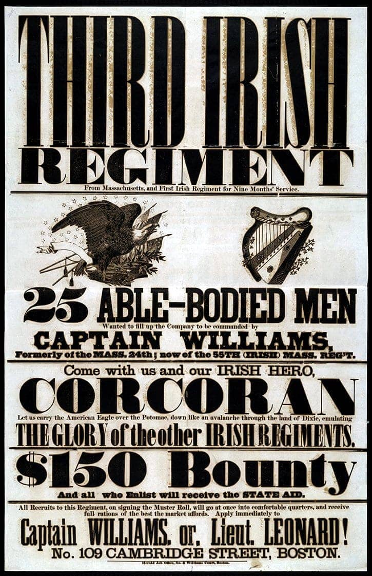 The Eagle and the Harp Irish recruitment poster Civil War