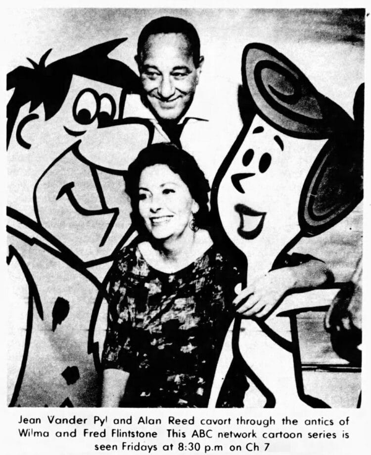 The Flintstones TV show voice cast in 1961 - Alan Reed (Fred), Jean Vander Pyl (Wilma)