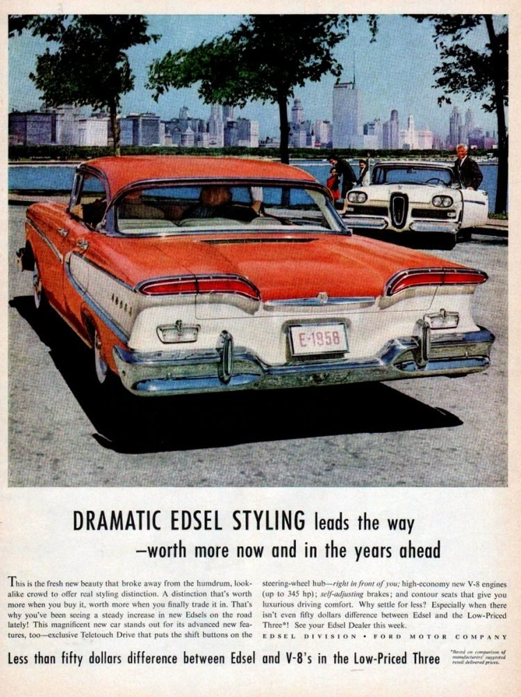 The Ford Edsel - Vintage car ad with red auto from 1958