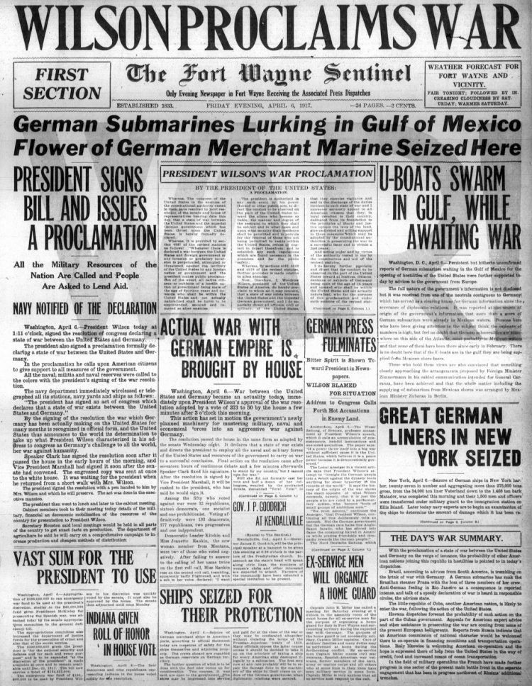 The Fort Wayne Sentinel newspaper front page - US in World War I - April 1917