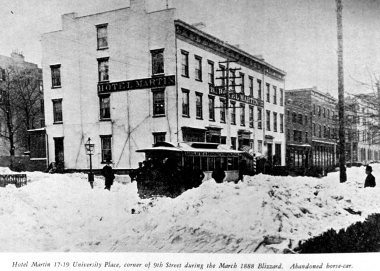 The Great Blizzard of March 12, 1888 - Hotel Martin - University Place