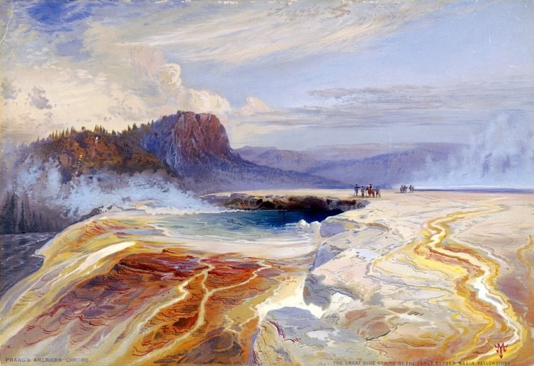The Great Blue Spring of the Lower geyser basin at Yellowstone Park 1800s