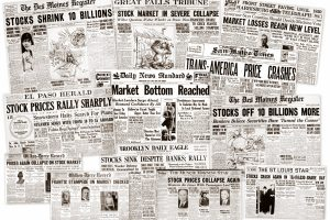 The Great Depression Newspaper headlines from the stock market crash 1929