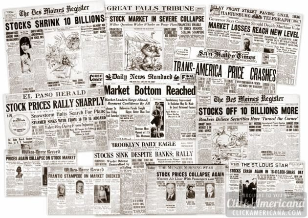 The Great Depression: Newspaper headlines from the stock market ...