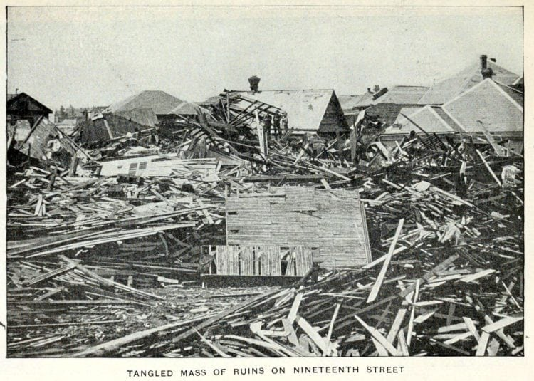 Tangled mass of ruins from the Galveston Hurricane of 1900