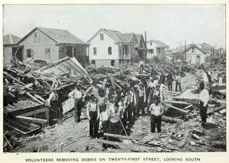 Removing debris after the Galveston Hurricane of 1900