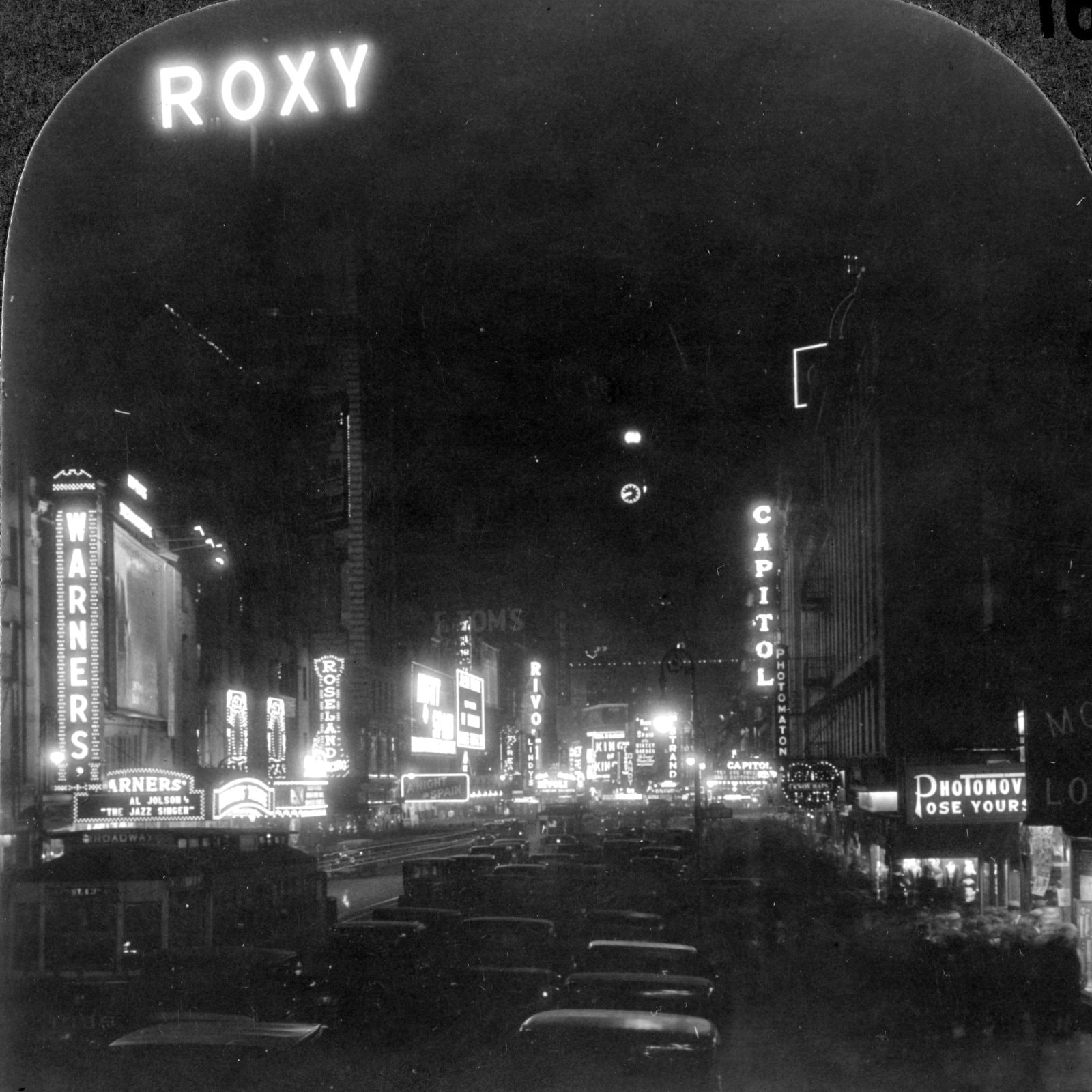 The Great White Way - night scene on Broadway above Times Square, New York City (1927s)