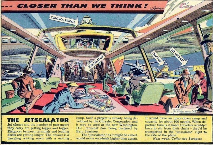 The Jetscalator- Futuristic vintage cartoon