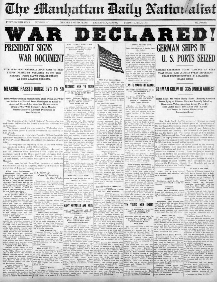 The Manhattan Daily Nationalist newspaper front page - US in World War I - April 1917