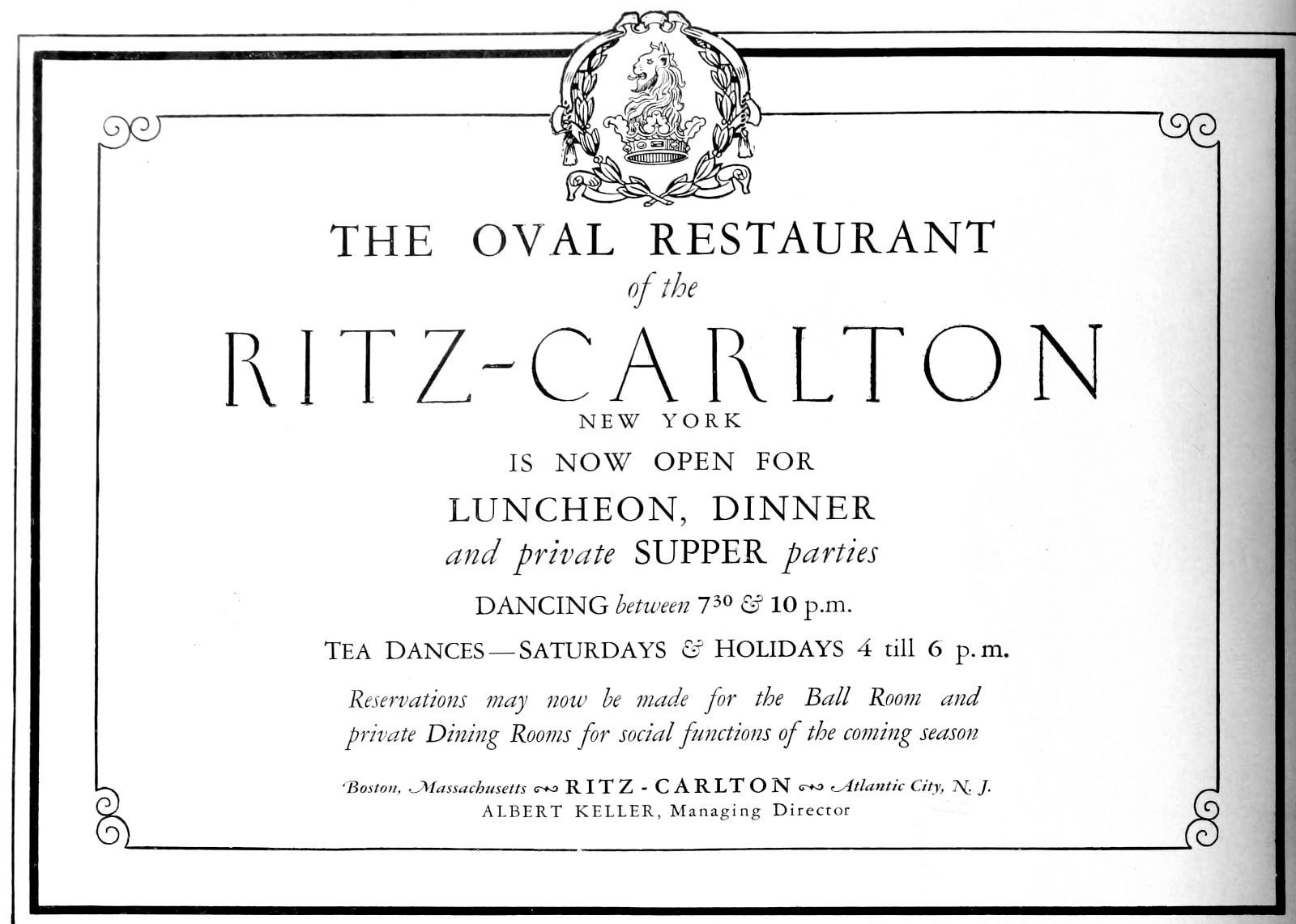 The Oval Restaurant open - Ritz Hotel NYC (1927)