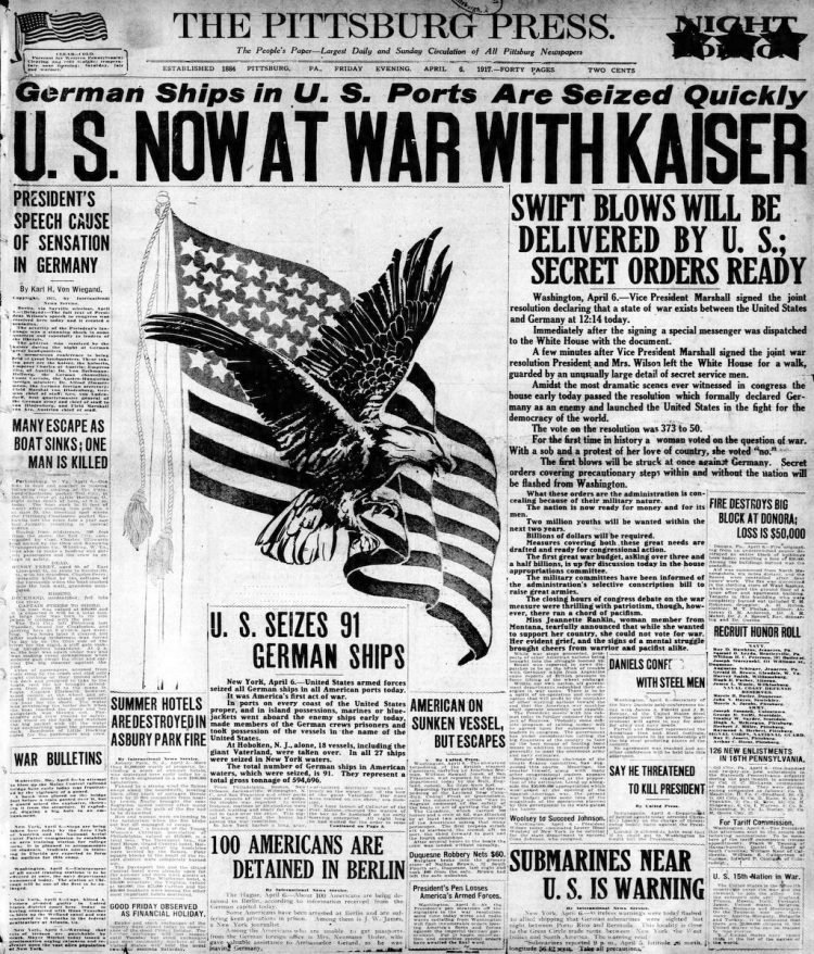 The Pittsburgh Press newspaper front page - US in World War I - April 1917