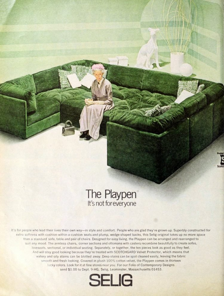 The Playpen - huge vintage sofa from the swinging 709s