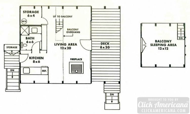 The Ranger A-Frame cabin floor plan design (1960)
