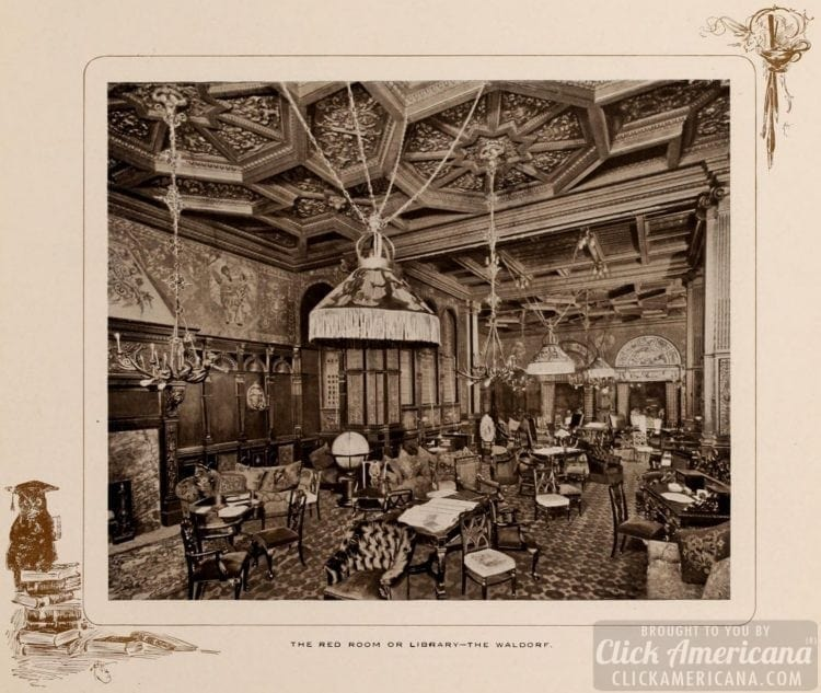 The Red Room or the Library at the Waldorf Hotel in 1903